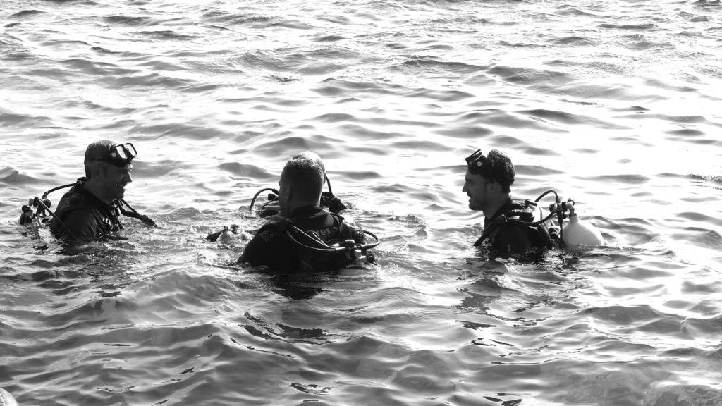Drei Personen im Wasser beim Tauchen